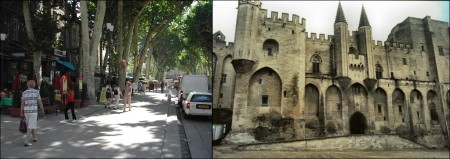 Cours Mirabeau i Aix-en-Provence og pavepalasset i Avignon (egne foto)